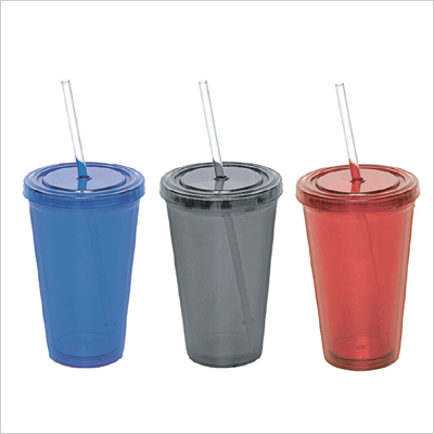 M 3928 - Plastic Mug with Straw