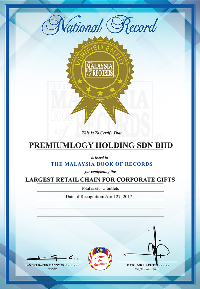 Certification The Malaysia Book Of Records Premiumlogy Holding Sdn Bhd